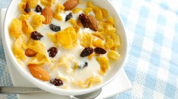 Healthy cereal with soya bean milk
