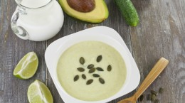 Cream soup of cucumber and avocado